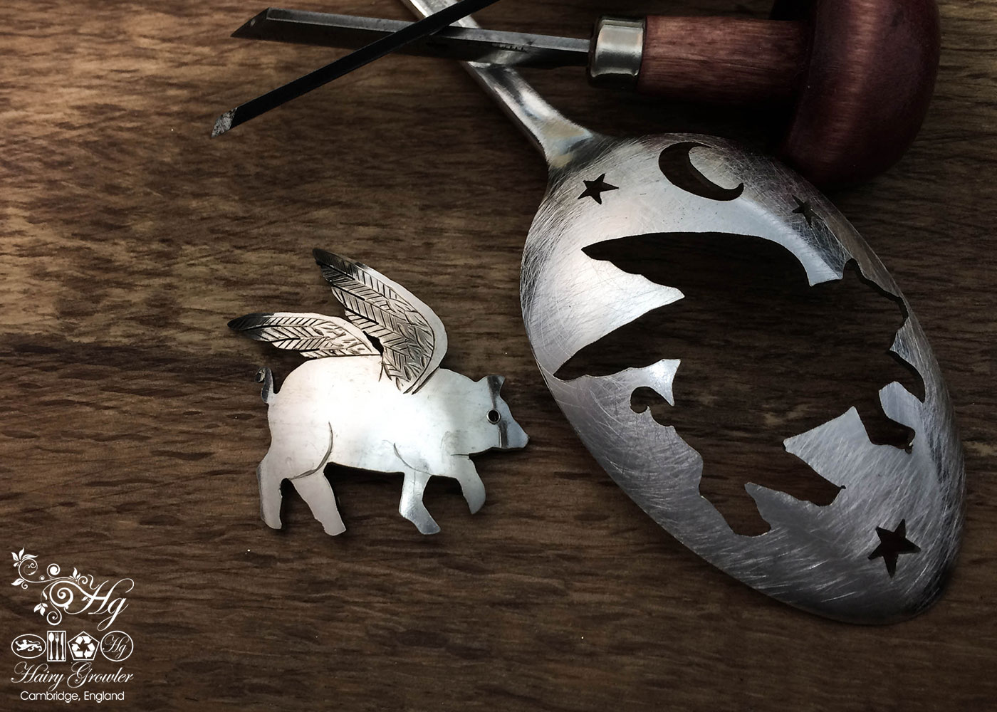 handcrafted and recycled spoon flying pig brooch