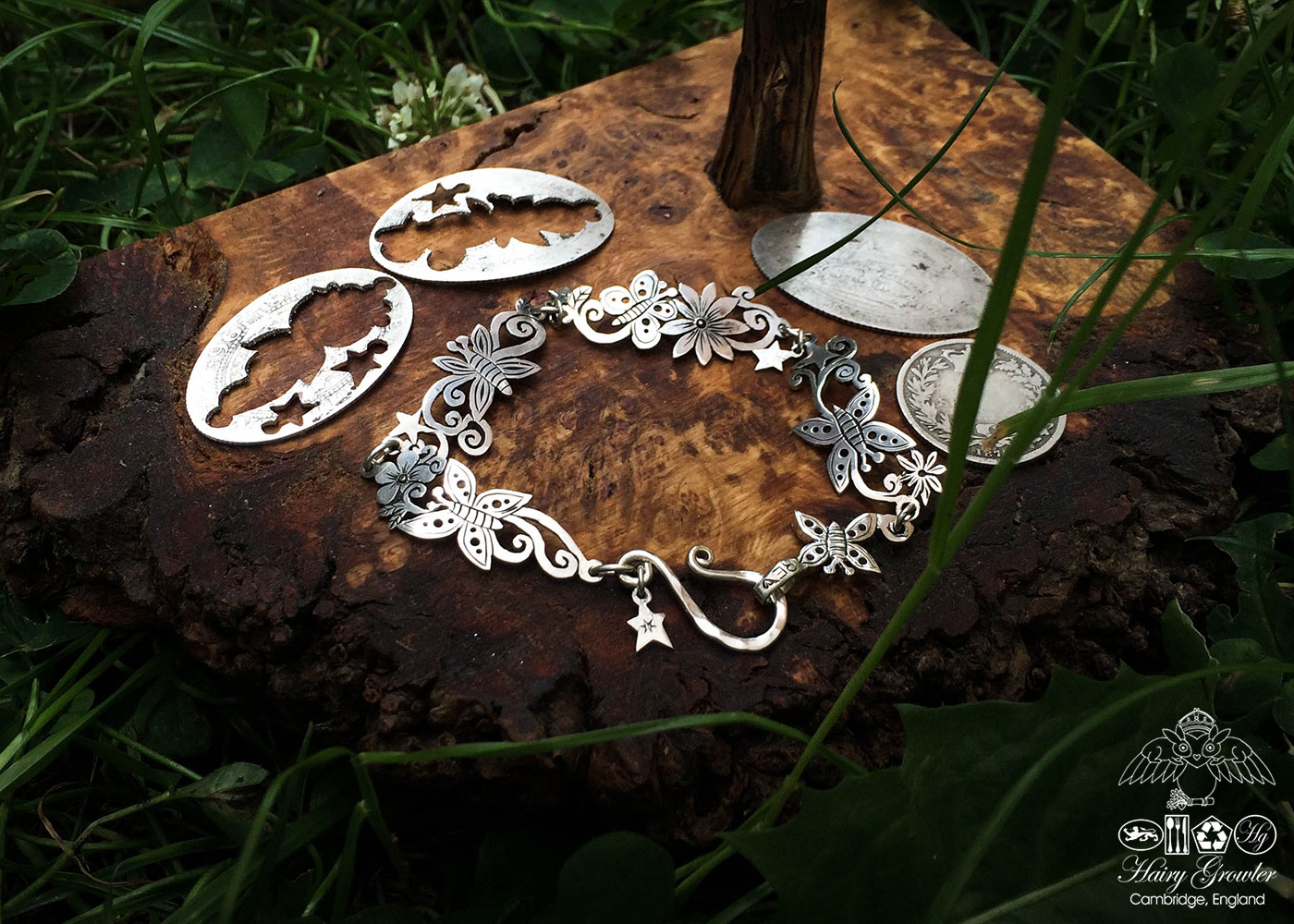 Butterfly bracelet individually handcrafted and recycled from an old Victorian silver coins