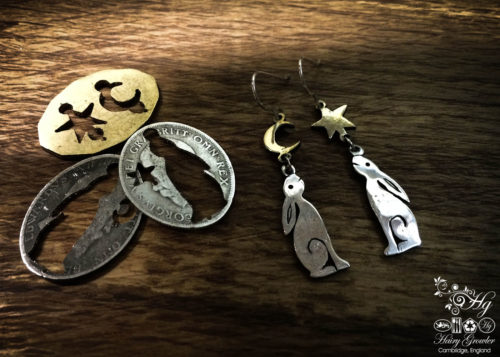 handcrafted and upcycled silver Georgian shilling hare earrings made in Cambridge