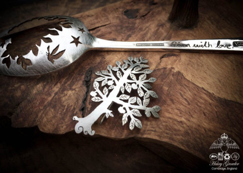 handcrafted and recycled spoon Newtons-apple tree brooch