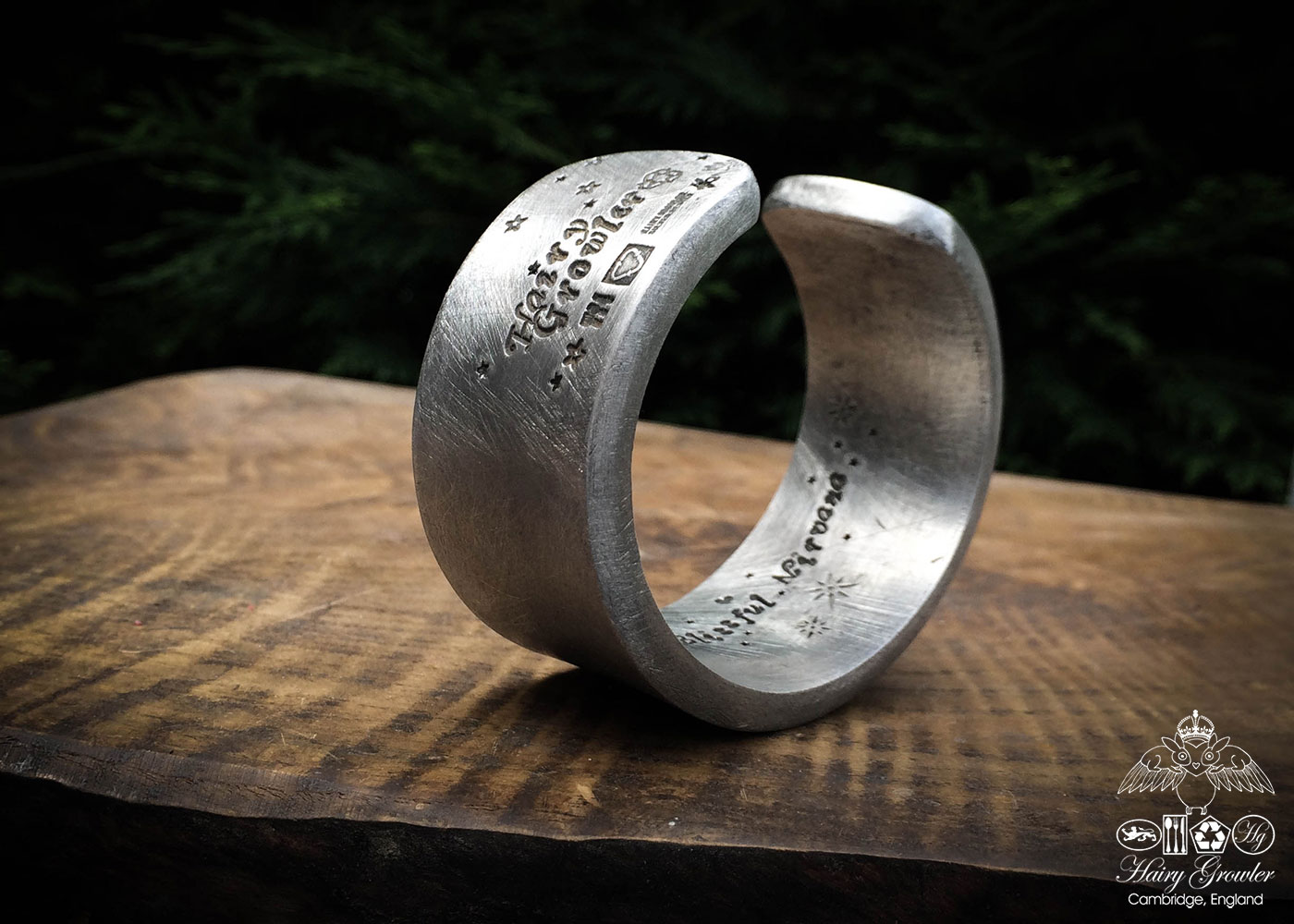 Handcrafted and recycled pewter chunky kuff bangle