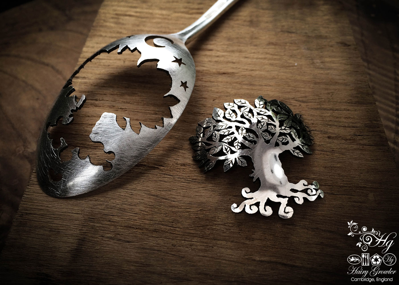 handmade and upcycled spoon tree-of-life brooch made from spoon