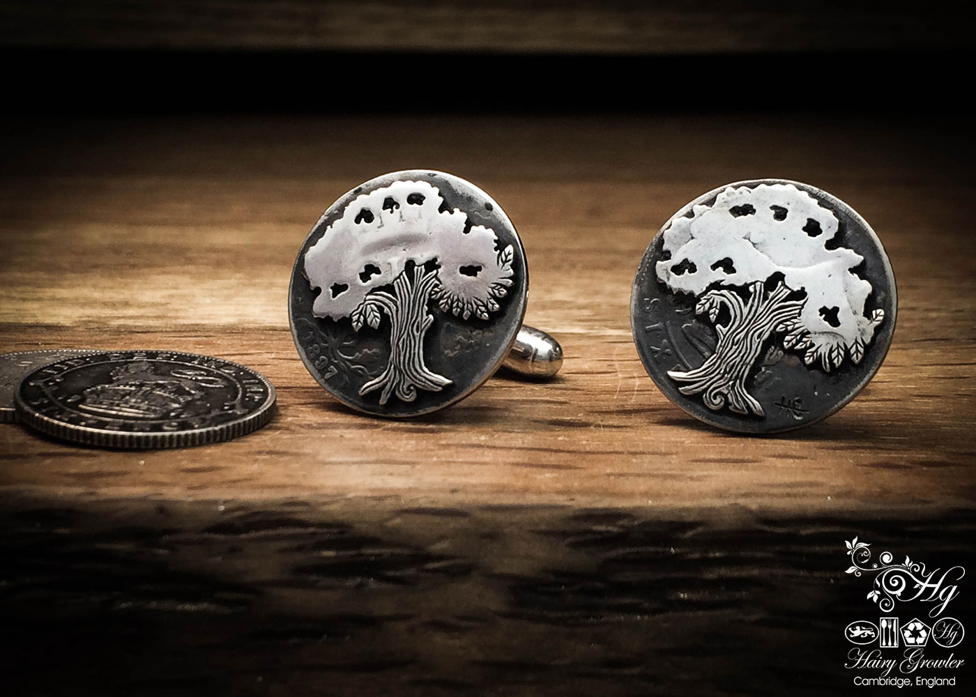 Oak tree cufflinks handcrafted and recycled from sterling silver sixpence coins