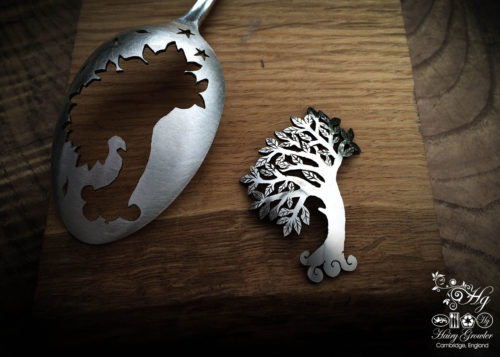handmade and upcycled spoon wind-blown-tree brooch
