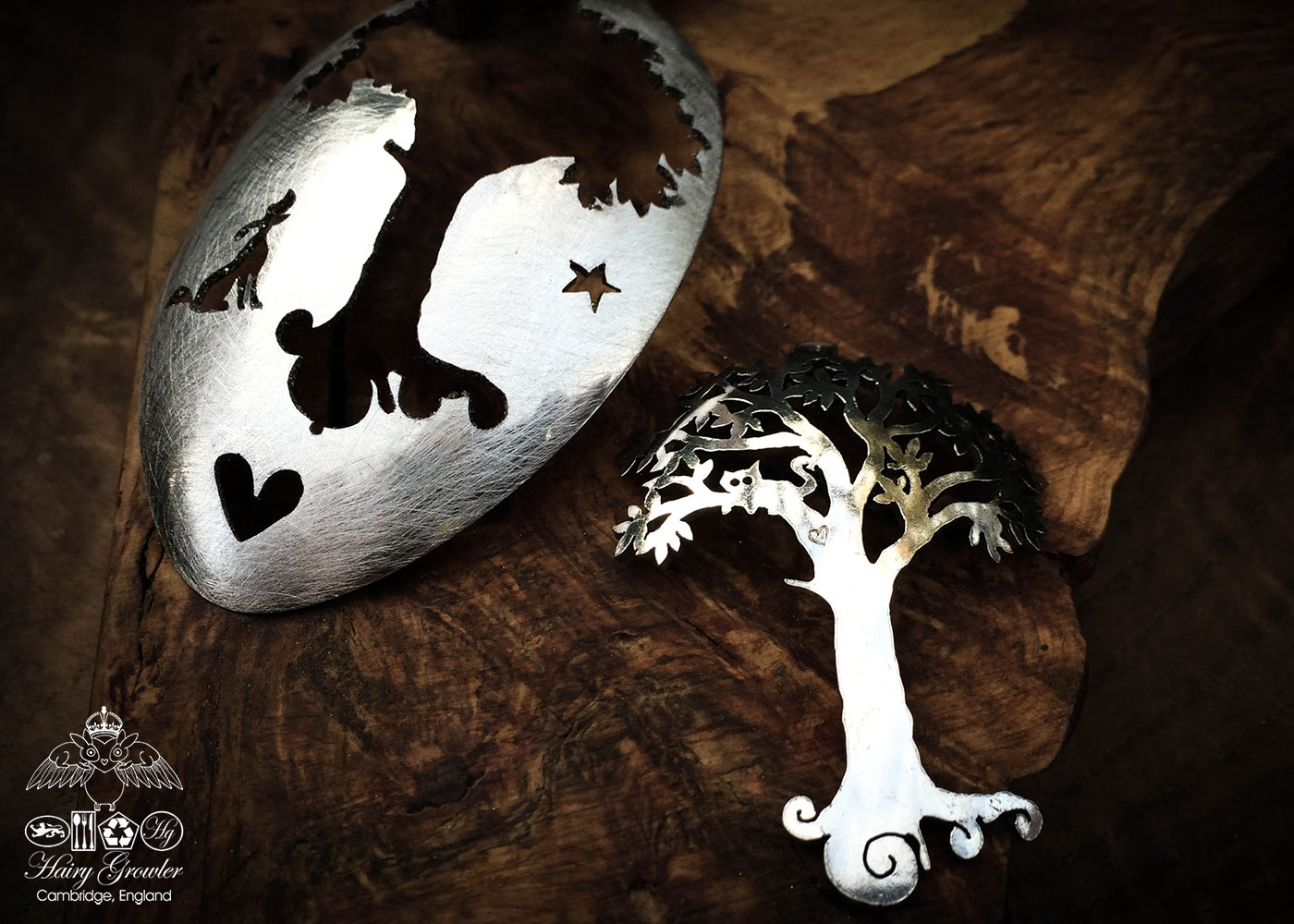 handmade and recycled spoon cat-in-the-tree brooch