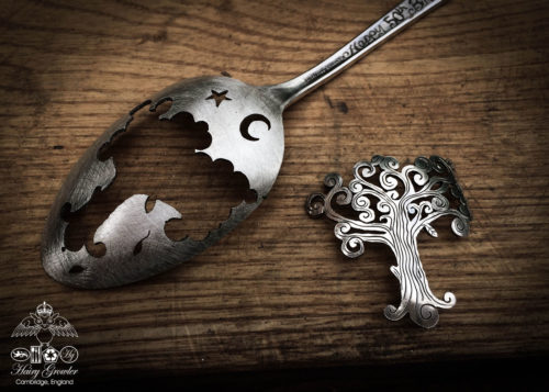 handcrafted and recycled spoon Fibonacci spiral tree brooch