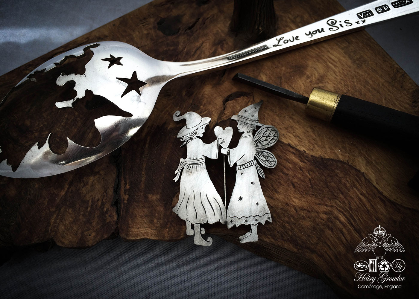 handmade and recycled spoon fairy and pixie brooch