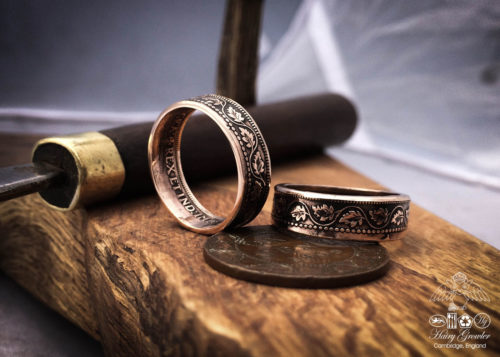 handmade and recycled oak leaf coin ring