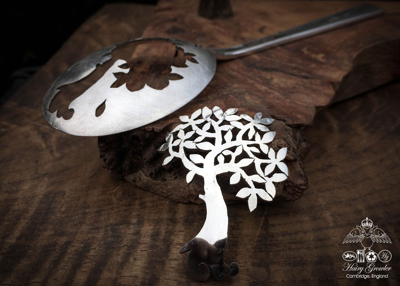 handcrafted and recycled spoon spring tree brooch