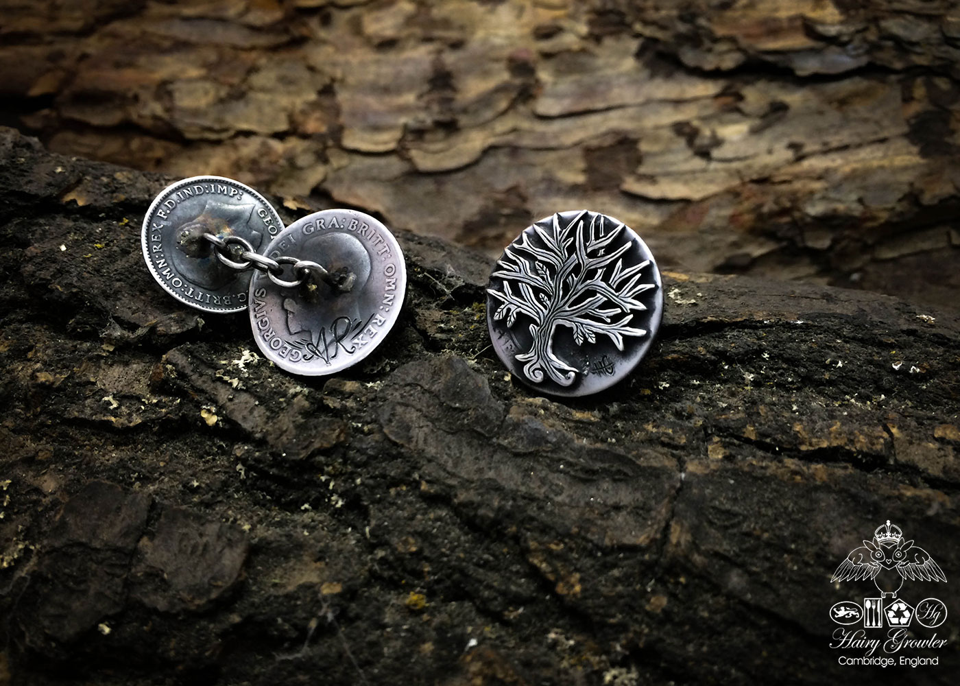 tree-of-life cufflinks handcrafted and recycled from sterling silver shillings and threepence coins