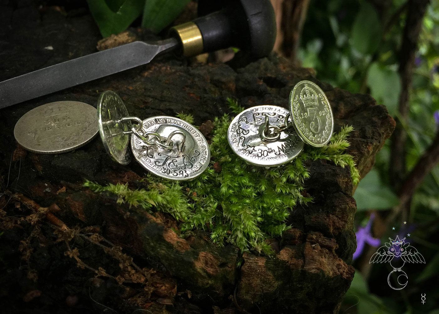 Hairy Growler Jewellery - Silver Tree collection. Tree cufflinks handcrafted and recycled from sterling silver shillings and threepence coins
