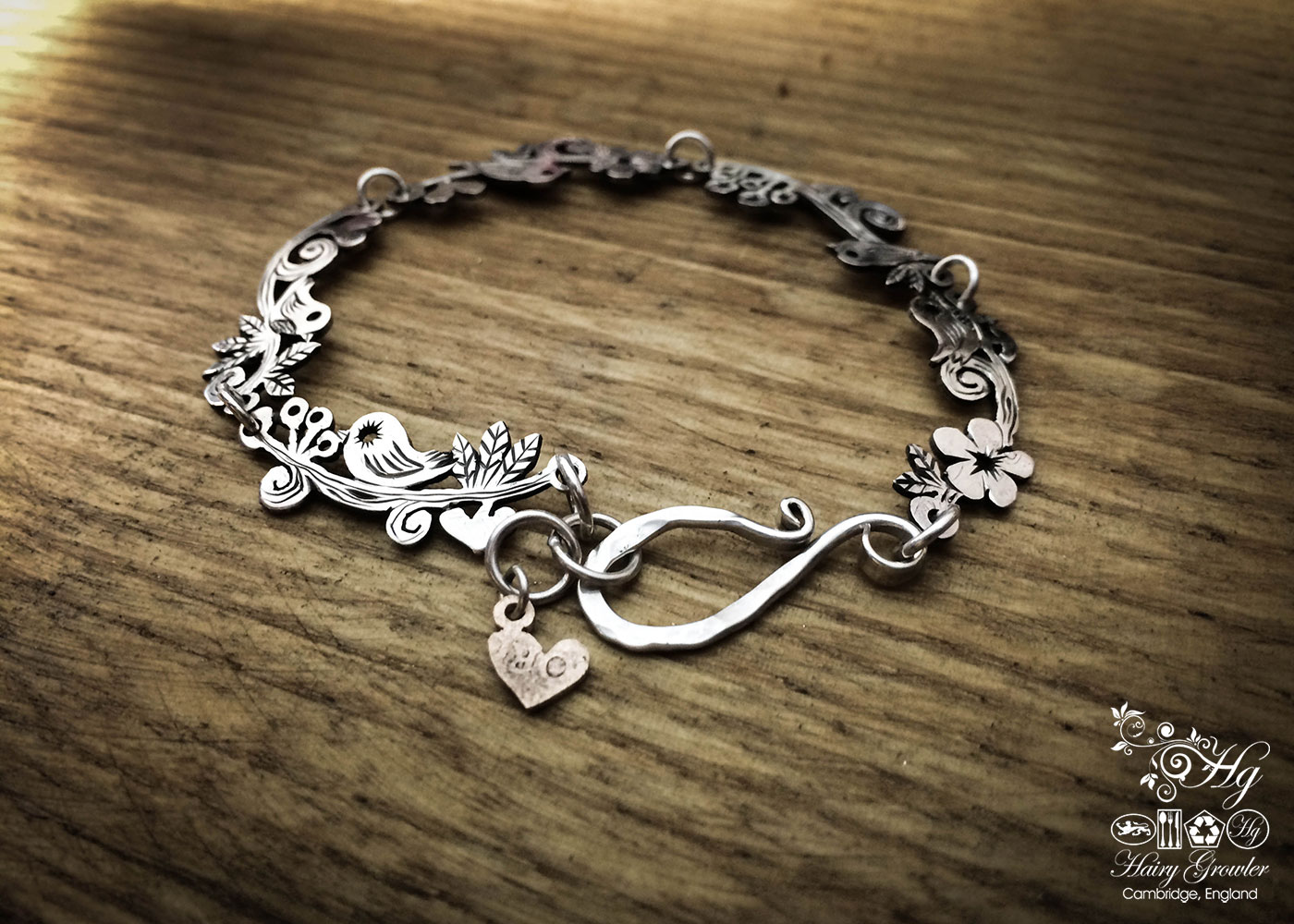 Bird bracelet individually handmade and upcycled from old Victorian silver coins