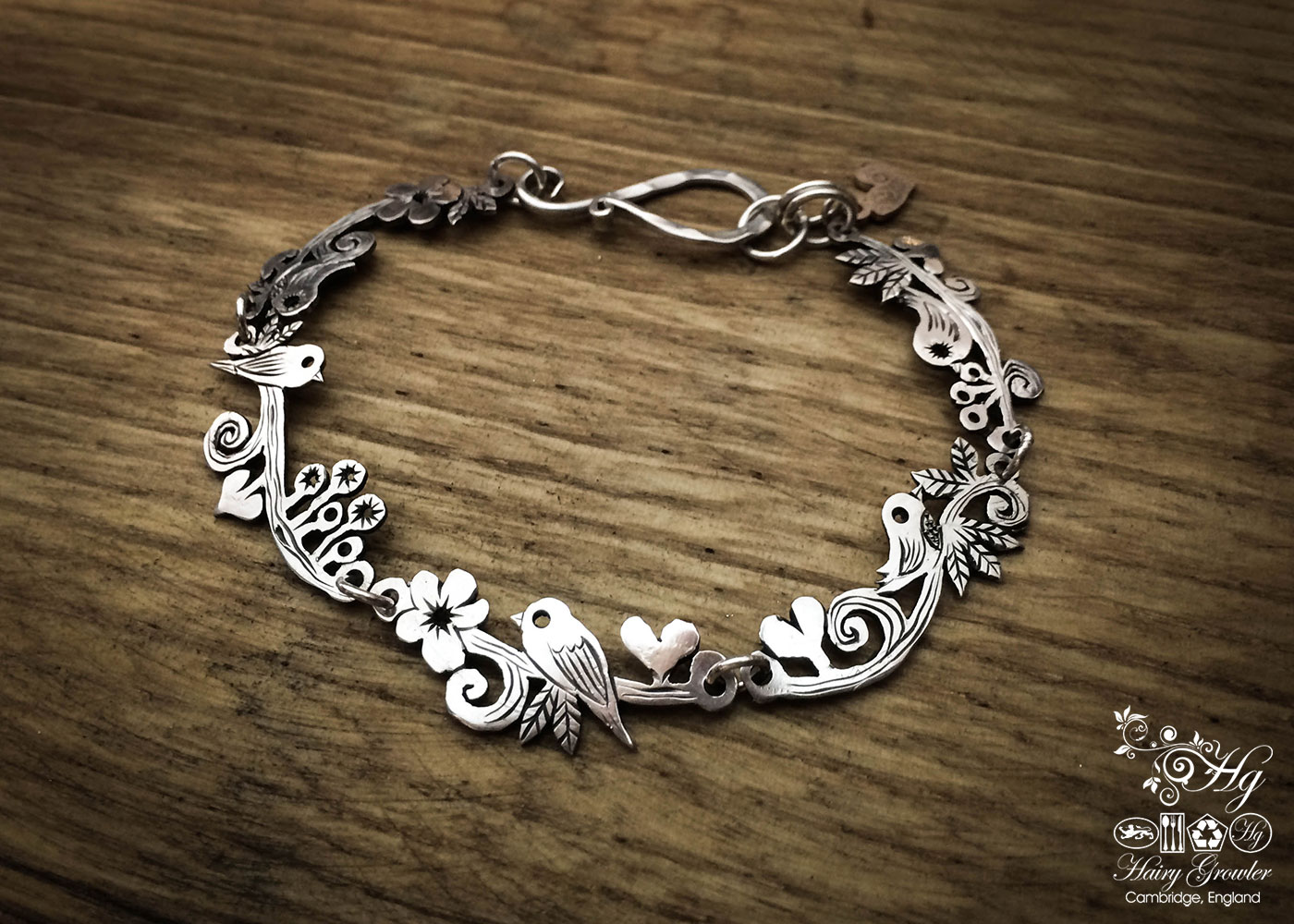 Bird bracelet individually handcrafted and recycled from Victorian silver coins
