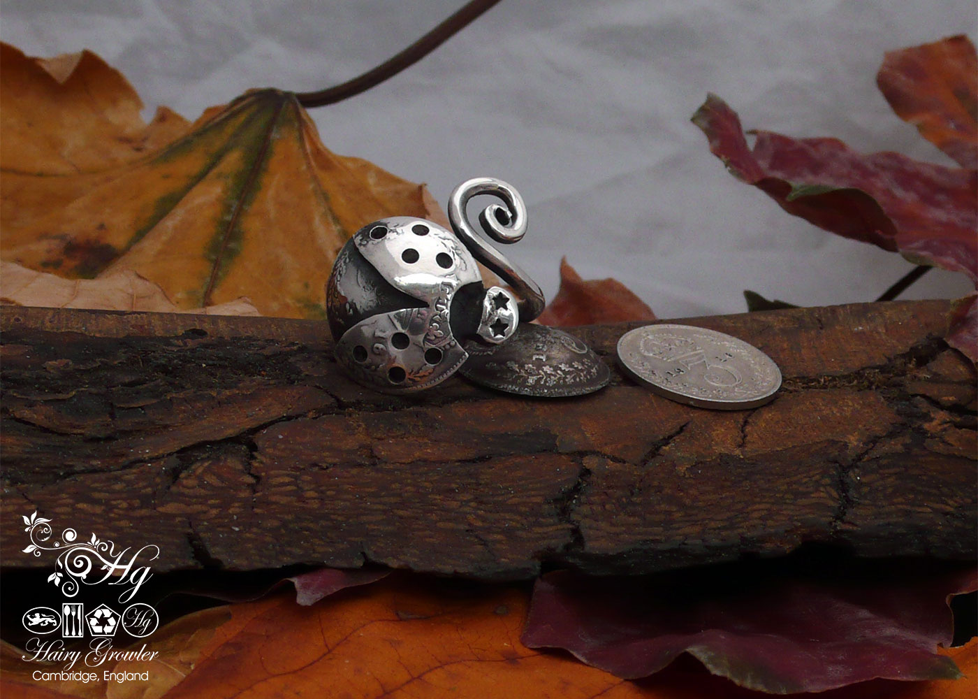 handcrafted and recycled silver fork ladybird ring