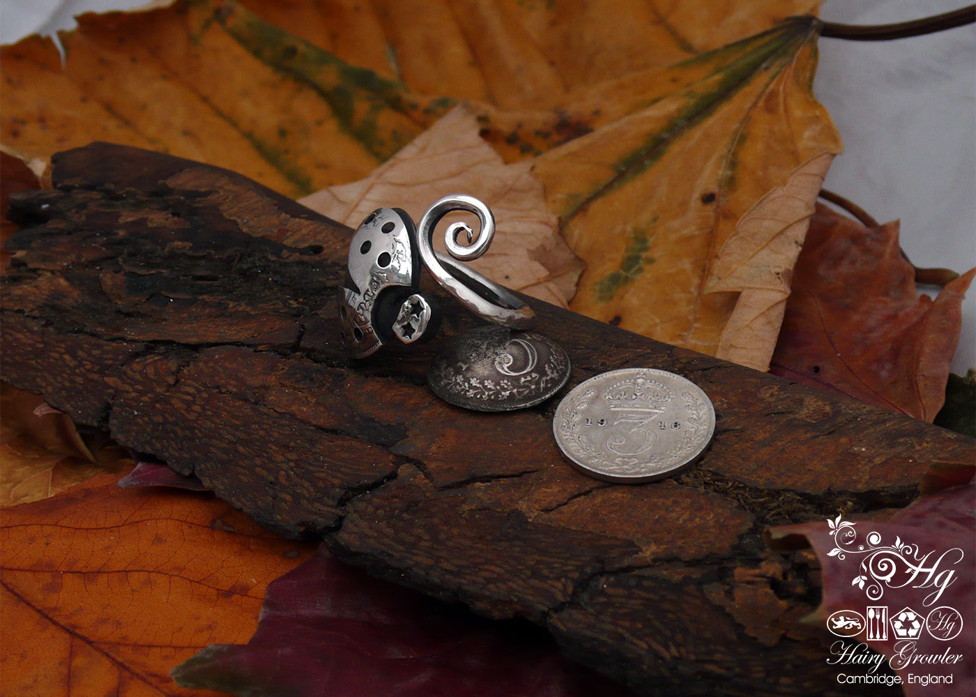 handmade and upcycled silver fork ladybird ring