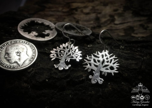 tree earrings handmade and upcycled silver Georgian shilling tree of life earrings made in Cambridge