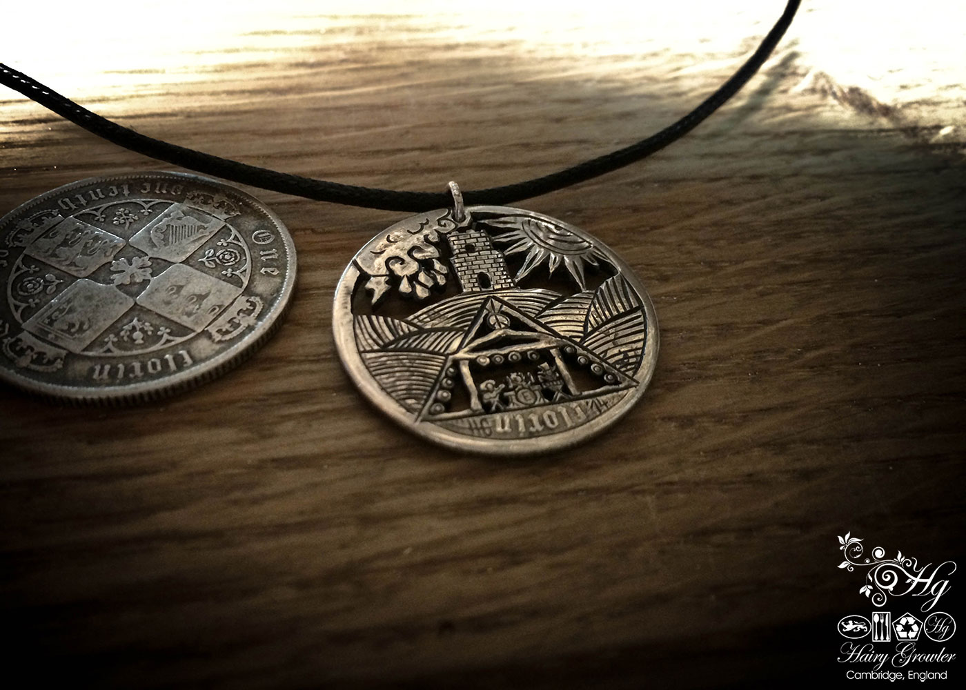 Handcrafted and repurposed Glastonbury festival pyramid stage and for coin pendant necklace