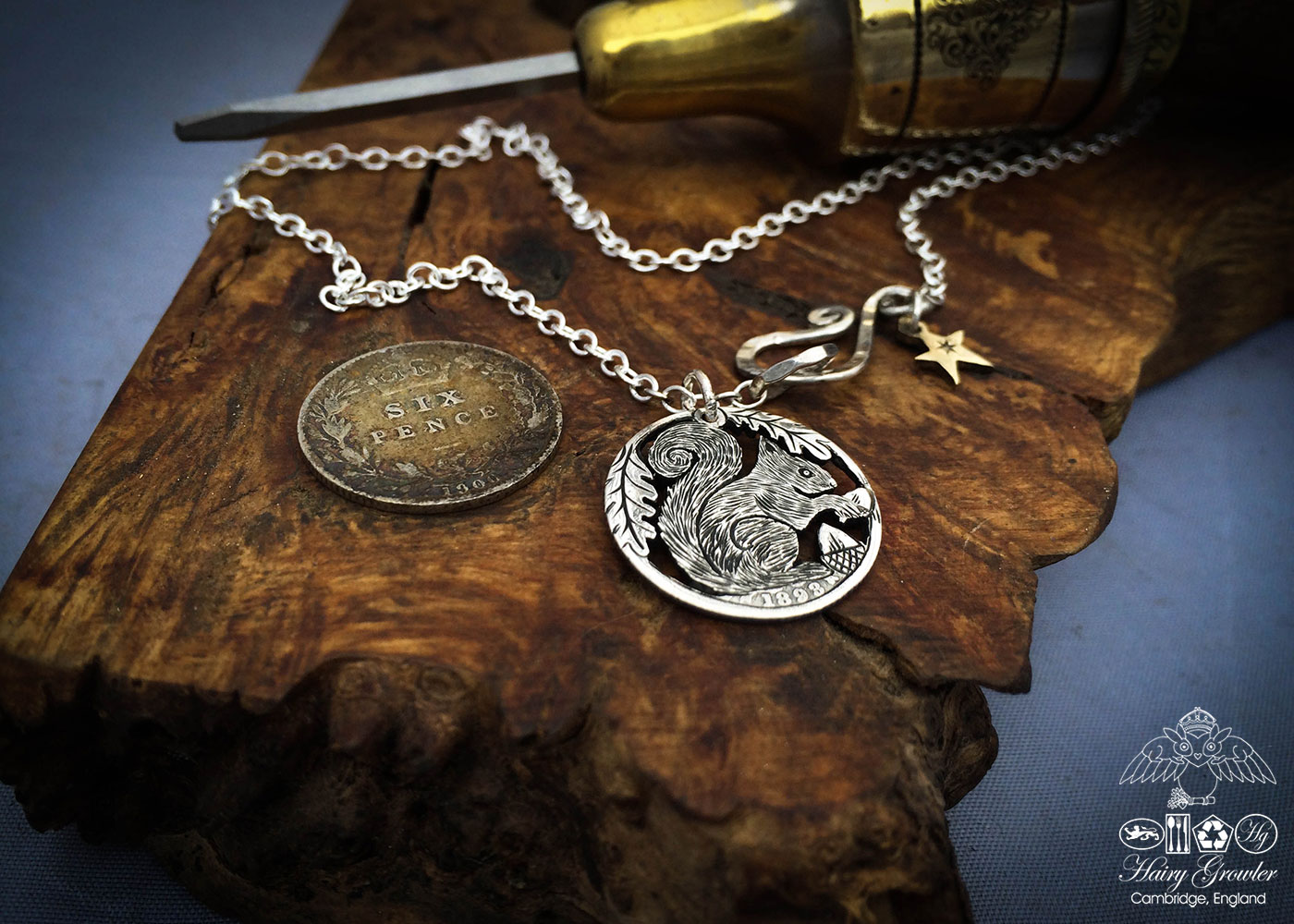 Handmade and repurposed silver sixpence coin squirrel pendant necklace