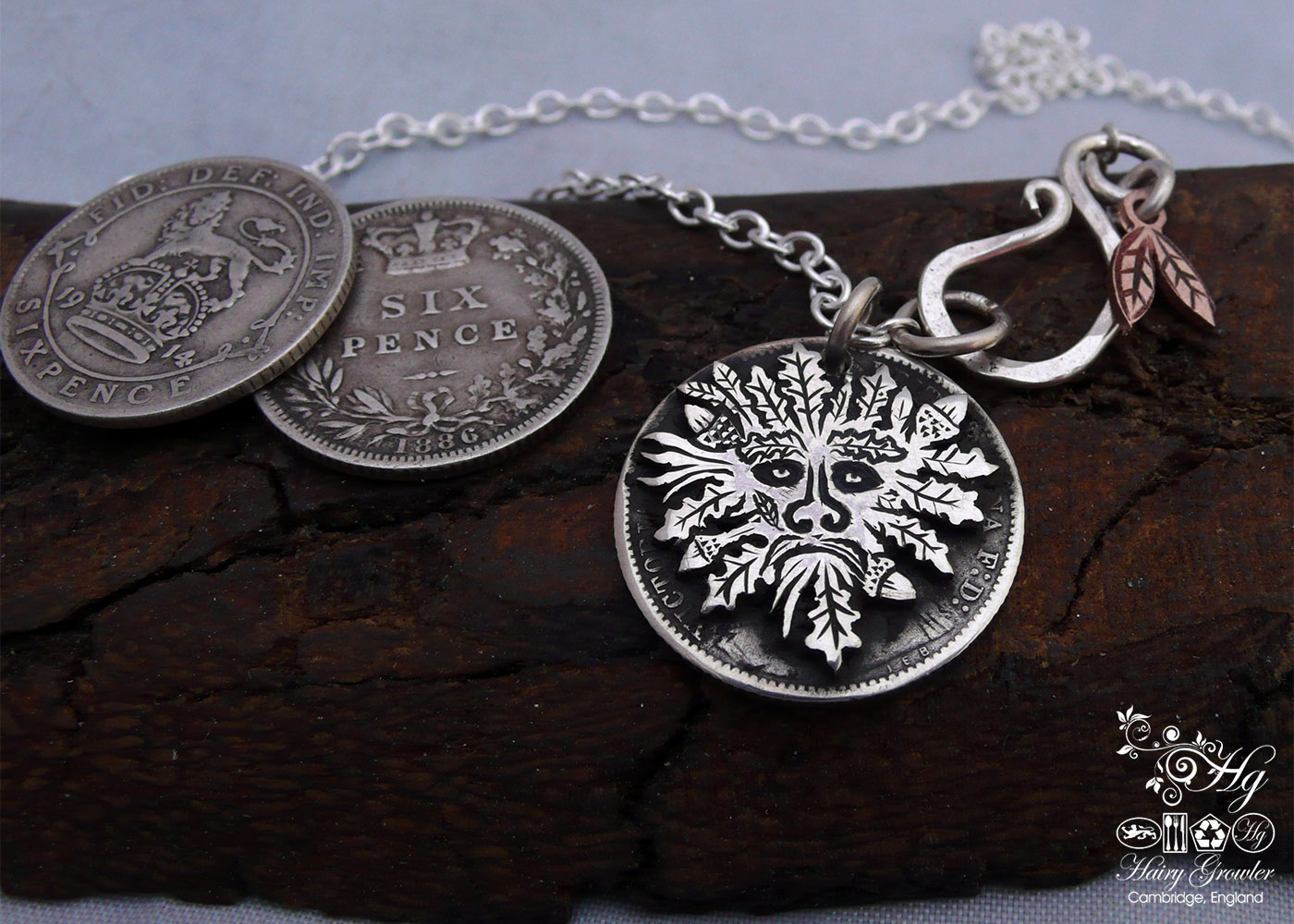 Handcrafted and recycled silver sixpence coin greenman pendant necklace