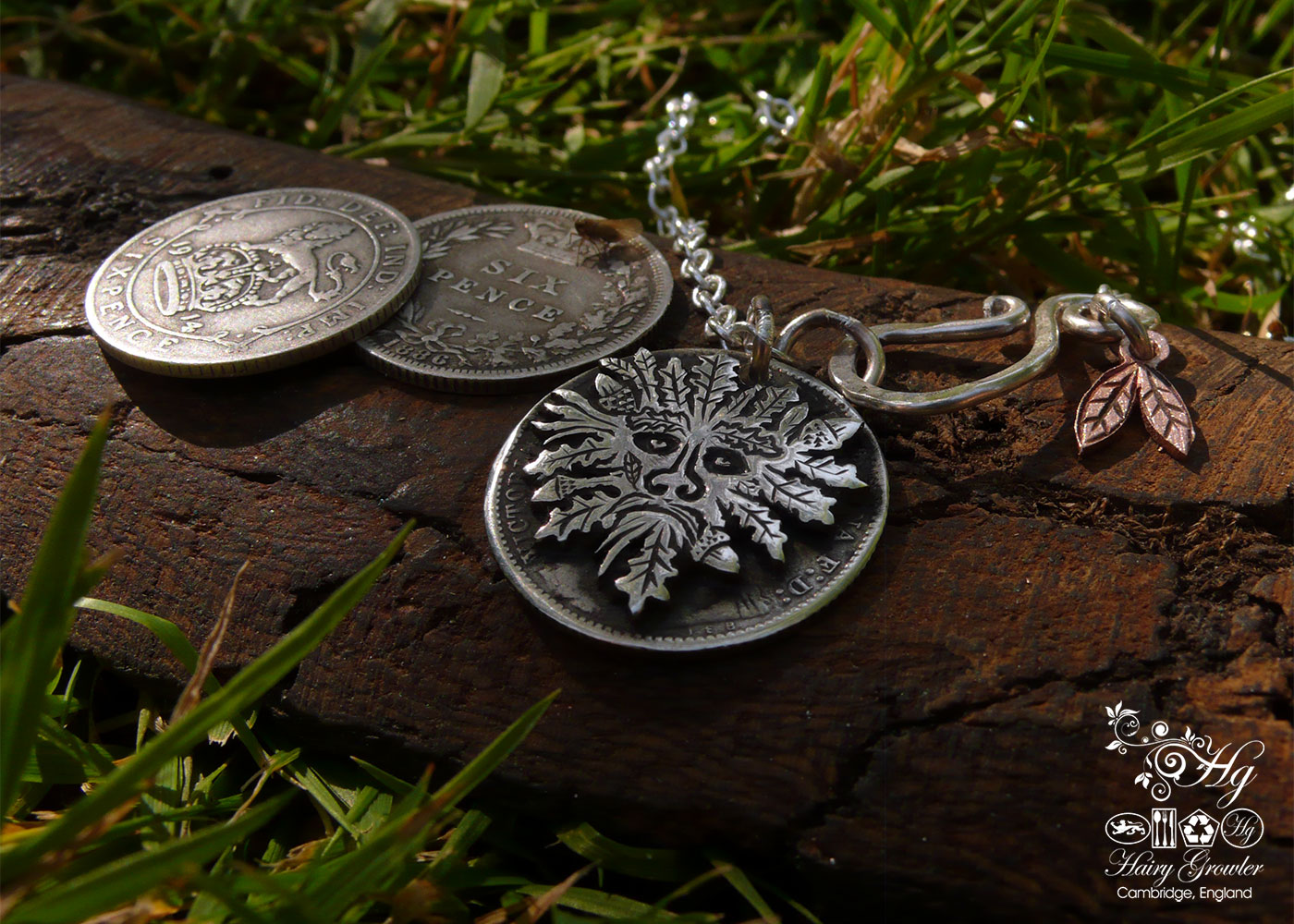Handcrafted and recycled silver sixpence coin green man pendant necklace