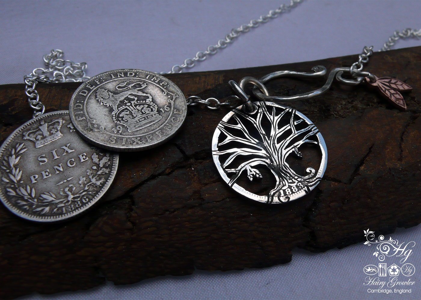 Hand-cut and repurposed silver sixpence coin autumn tree pendant necklace