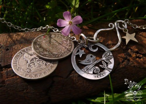 Hand-cut and repurposed silver sixpence coin birdsong tweet pendant necklace
