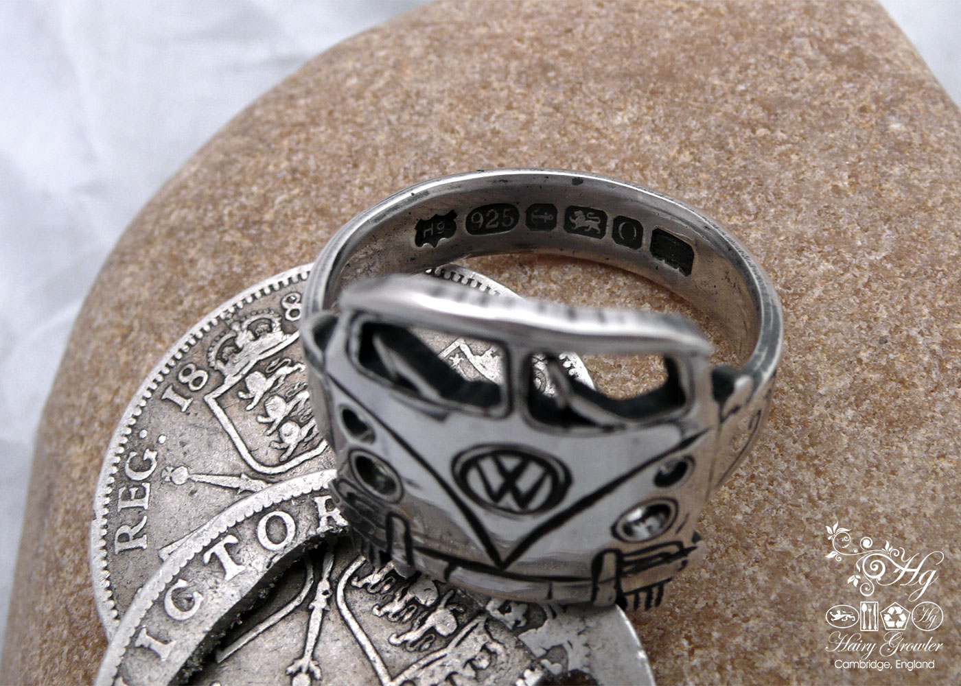 handcrafted and recycled silver coin splitty split screen campervan surf bus vw ring