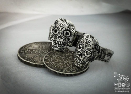 Day of the dead ring. Handmade, repurposed, upcycled, original silver coin day of the dead sugar skull rings