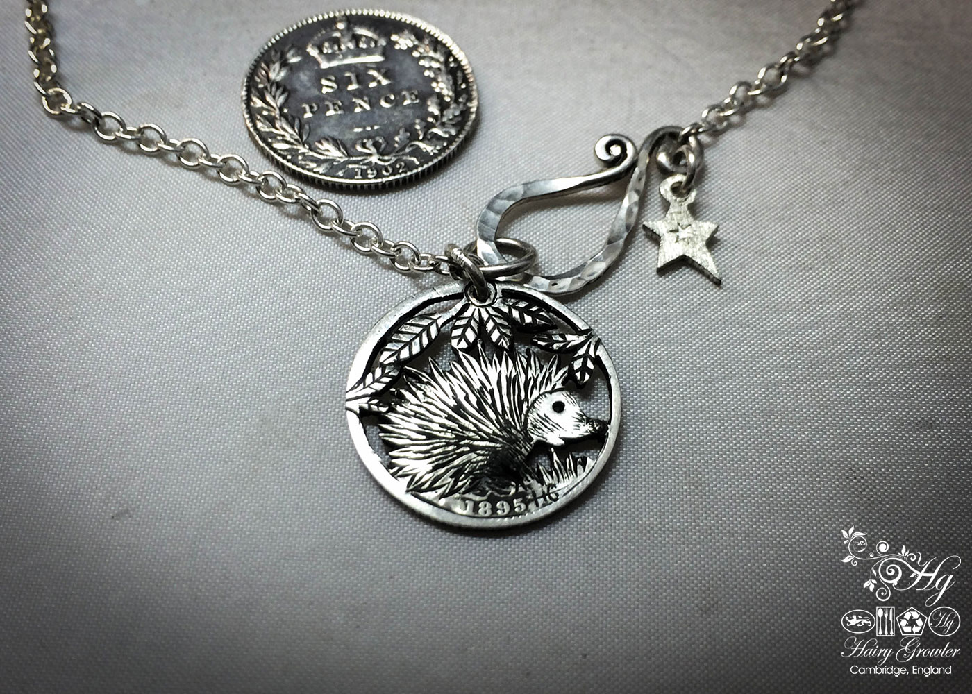 Handcrafted and recycled silver sixpence coin hedgehog pendant necklace