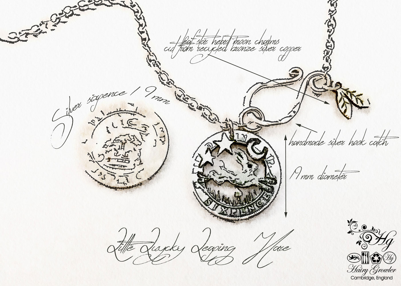 Handmade and upcycled silver sixpence coin leaping hare pendant necklace