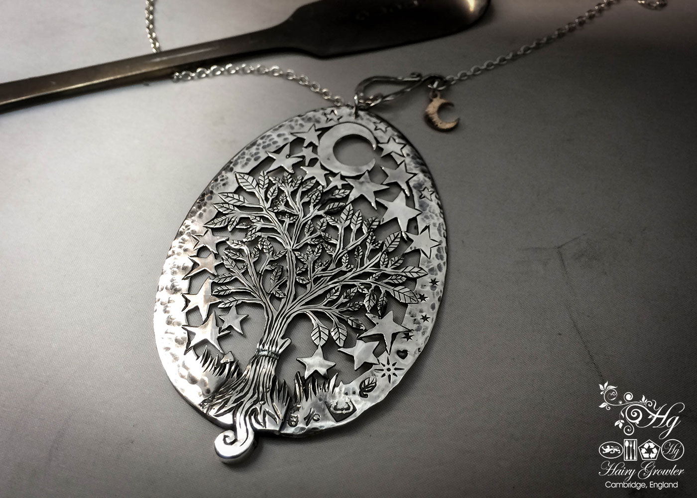 Handcrafted and recycled Victorian silver spoon magical tree of life necklace made in Cambridge