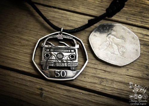 Handmade and recycled coin vw split screen camper van pendant necklace