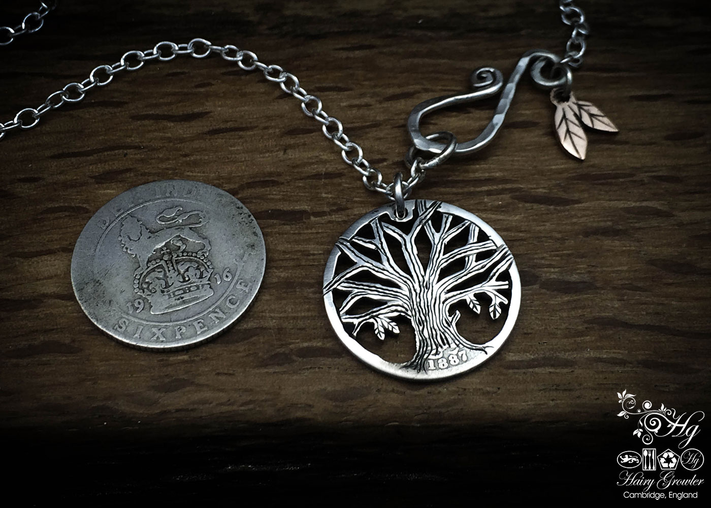 Handcrafted and repurposed silver sixpence coin autumn tree pendant necklace