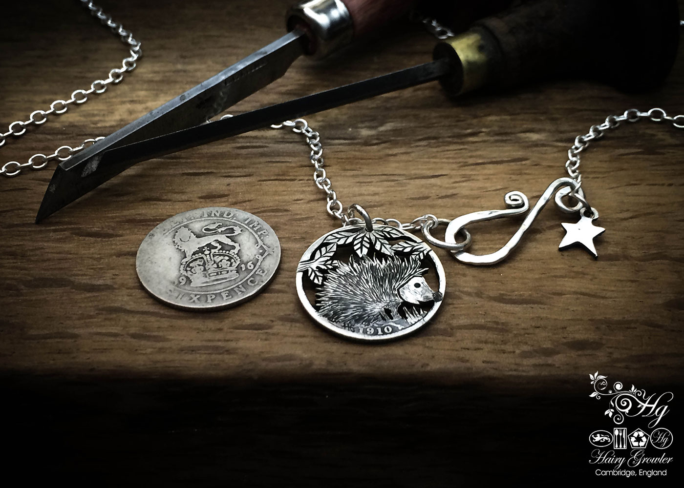 Handmade and repurposed silver sixpence coin hedgehog pendant necklace