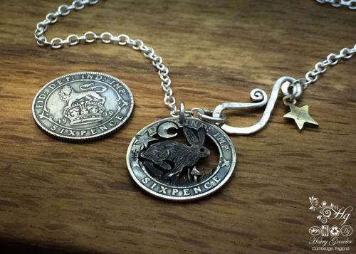 Handmade and upcycled silver sixpence coin mad march hare pendant necklace