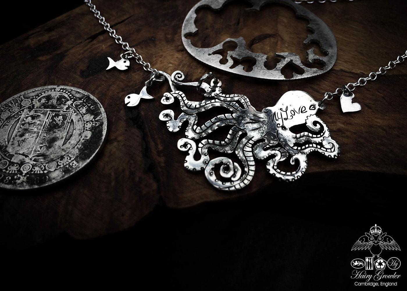 Handmade and upcycled, recycled silver coin octopus necklace made in landlocked Cambridge, UK