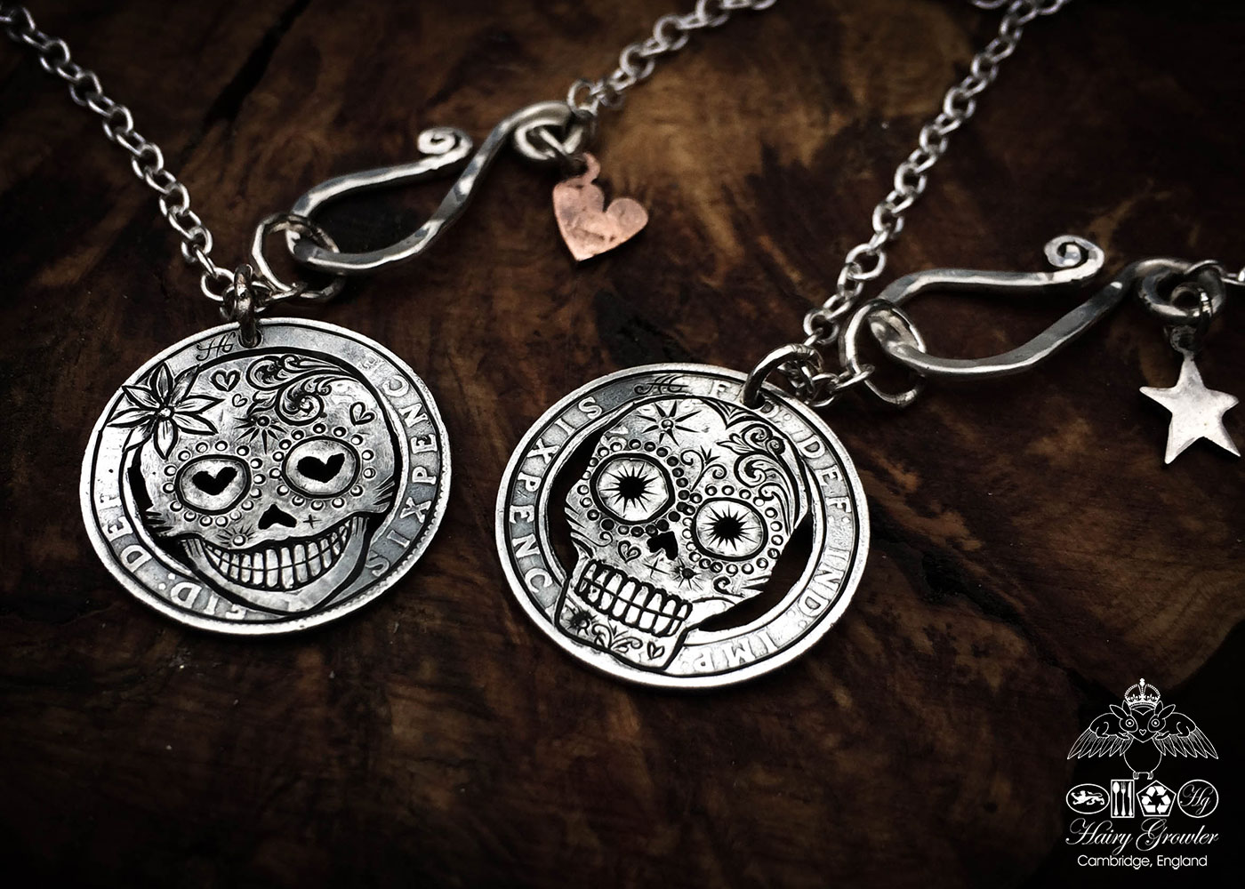 Hand-cut and recycled silver sixpence coin day-of-the-dead skull necklace