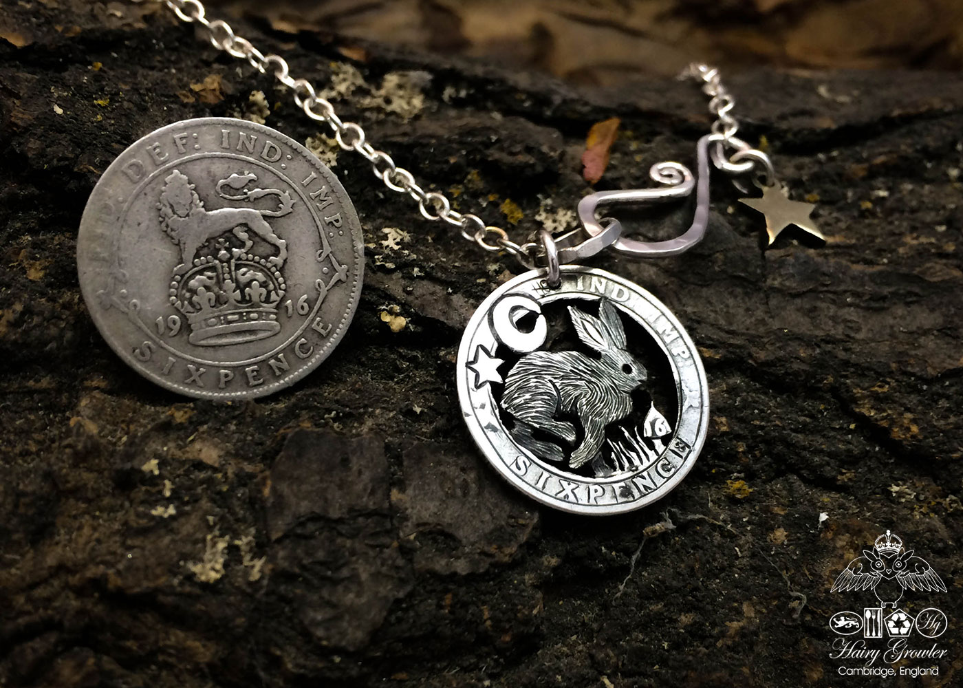 Handmade and repurposed silver sixpence coin mad march hare pendant necklace