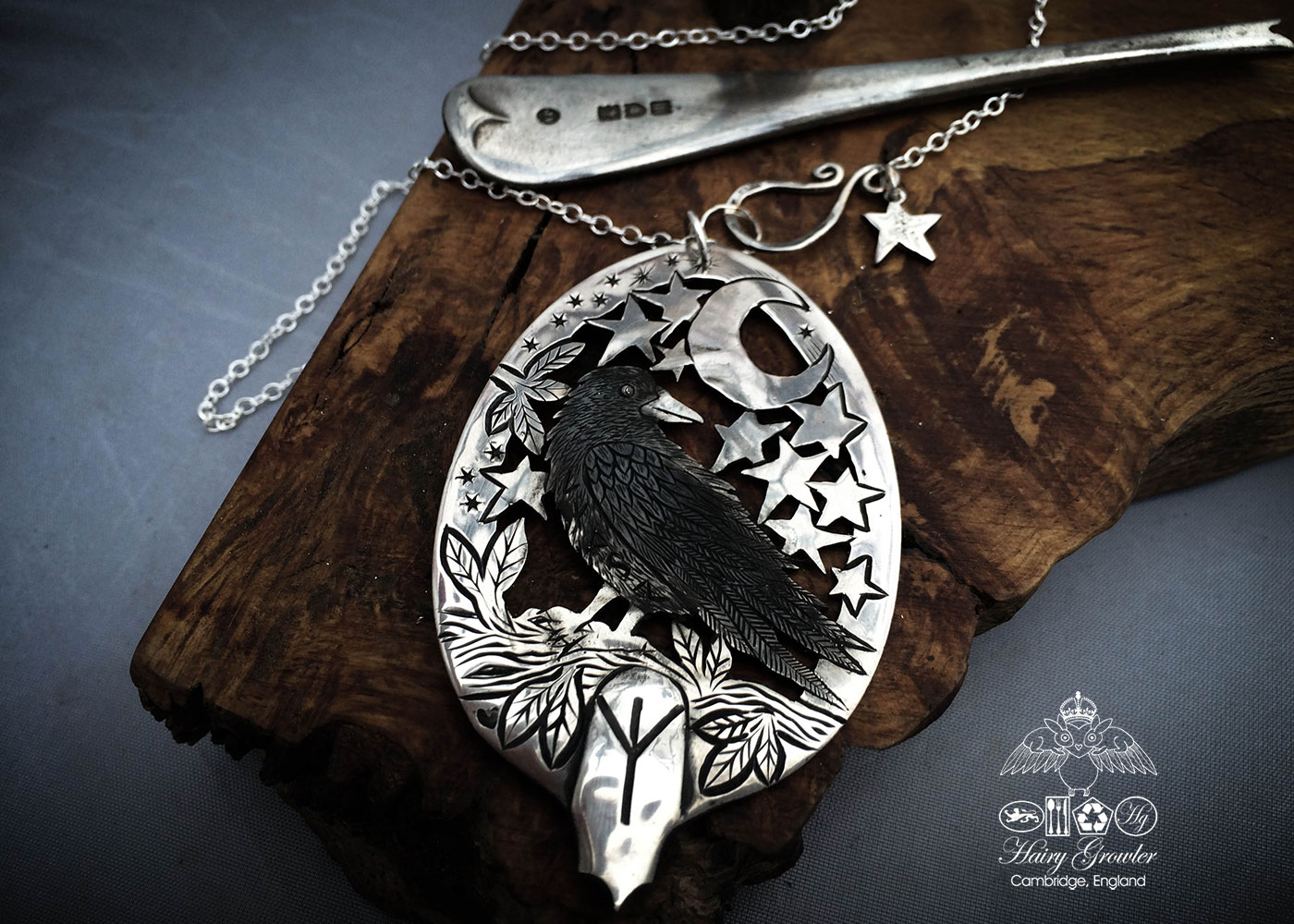 Handcrafted and recycled Georgian silver spoon Raven and Runes necklace made in Cambridge