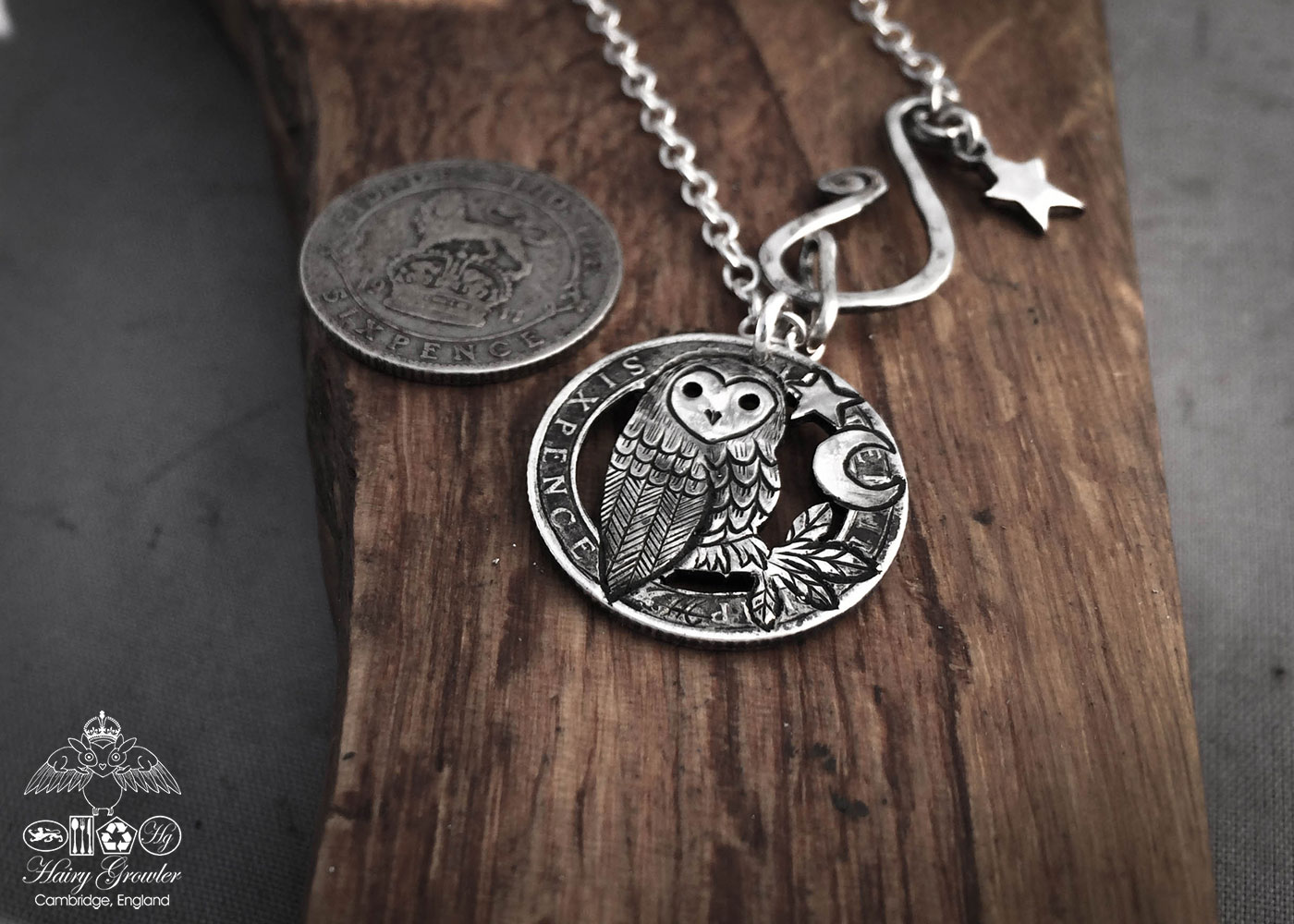 Handcrafted and upcycled silver sixpence coin owl pendant necklace