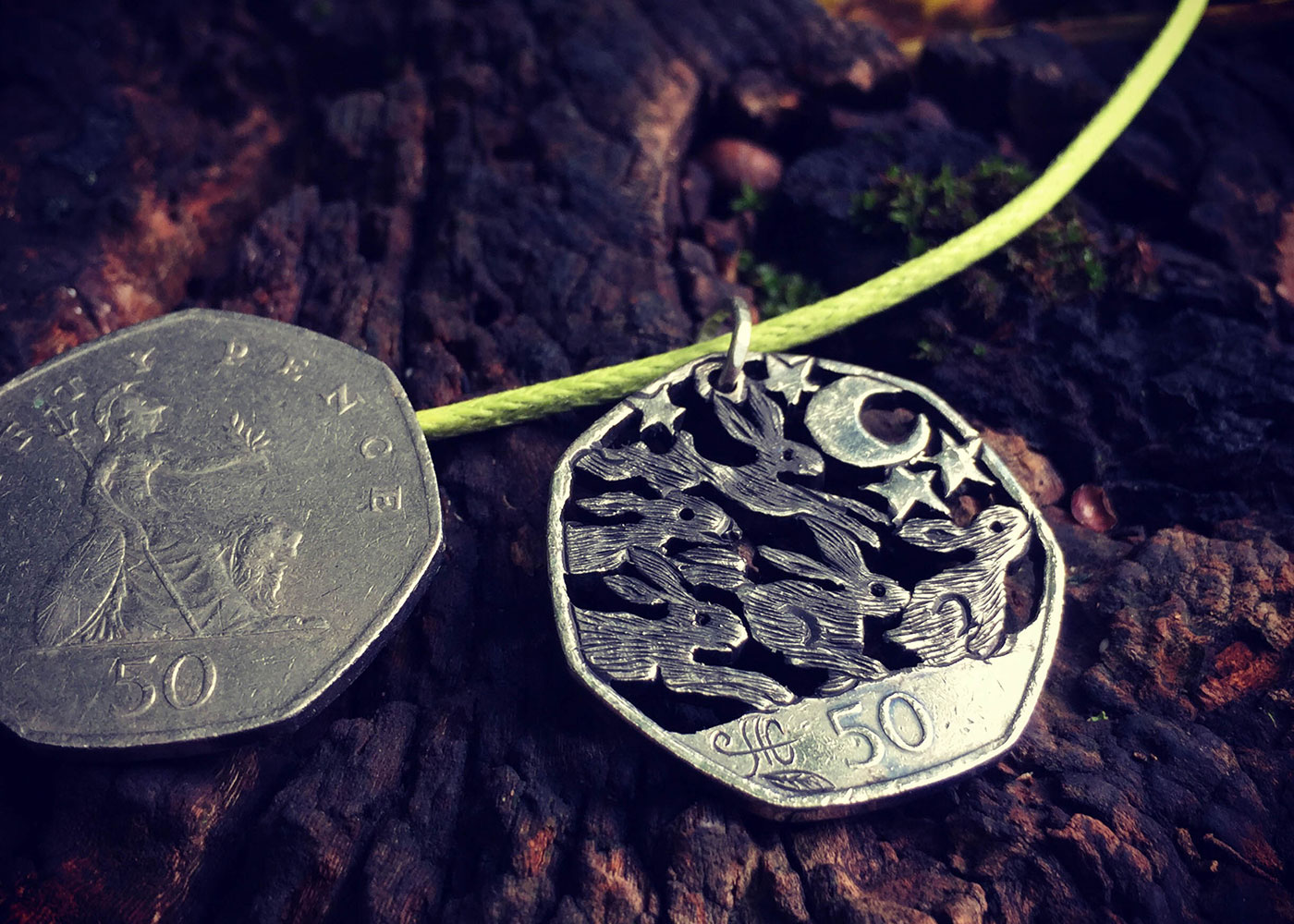Magical hares and rabbits jewellery - Recycled out of circulation Fifty pence coin