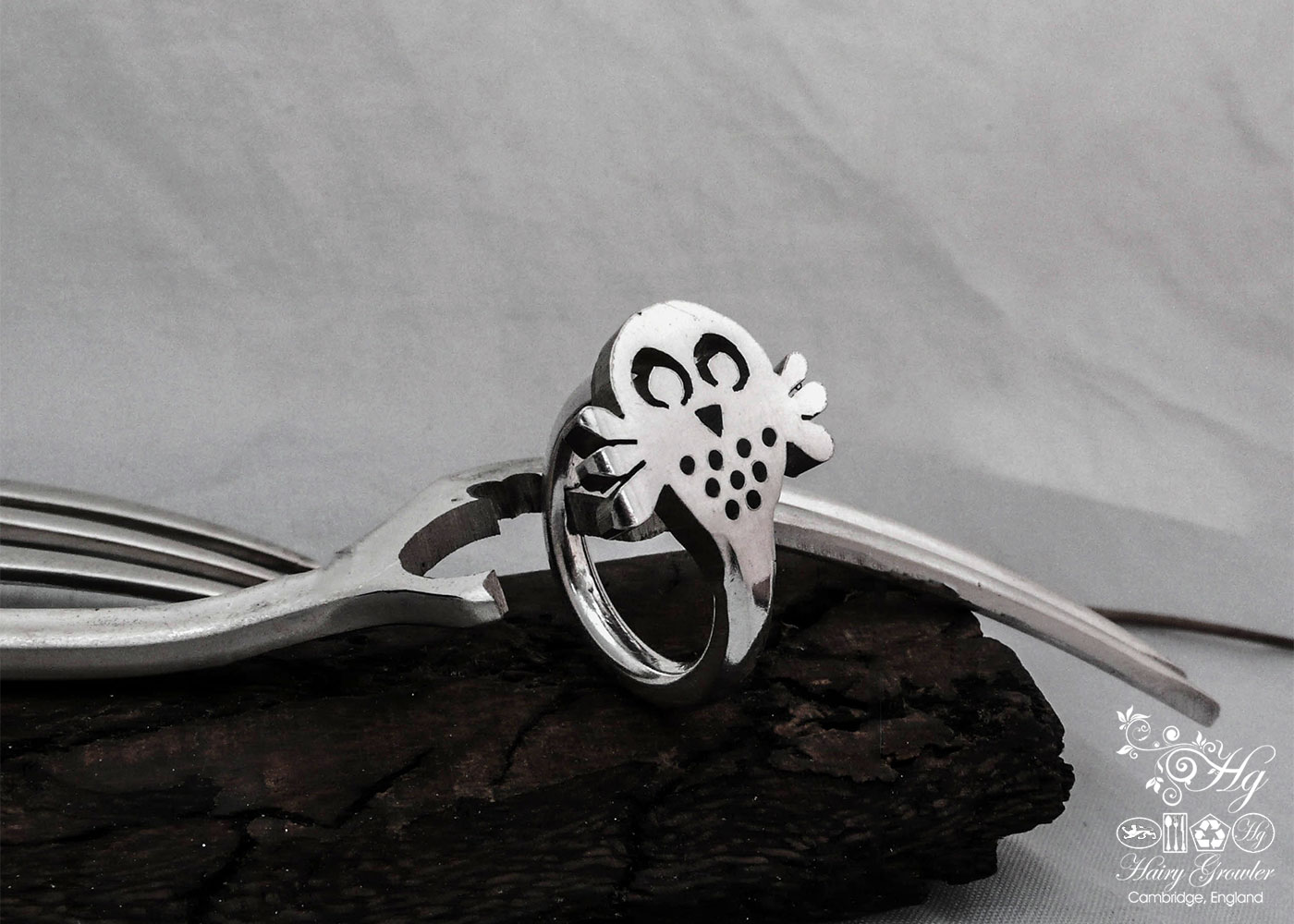 Contemporary, original and unique silver owl rings made from old recycled forks