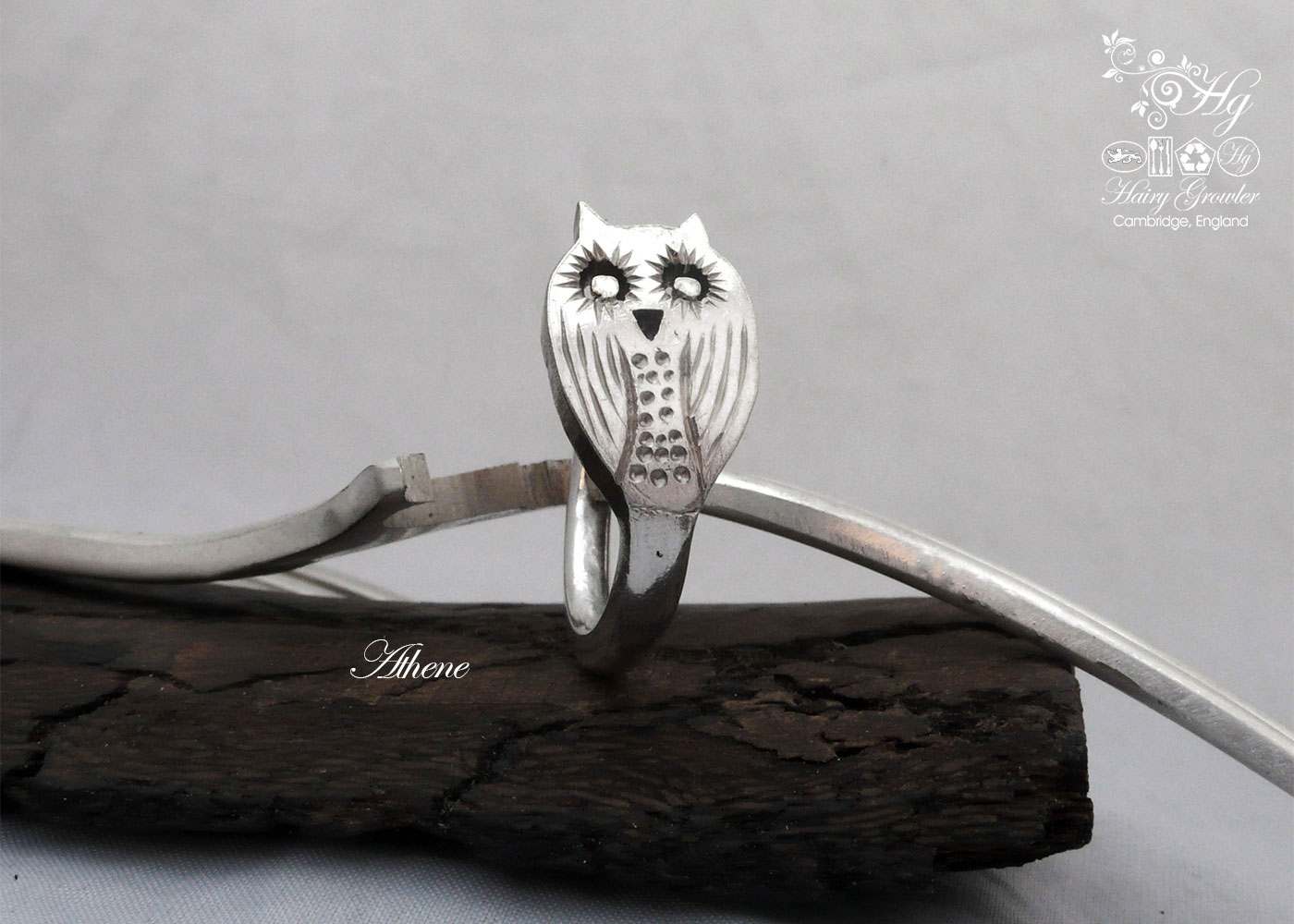 Ethical, eco-conscious, original and unique silver owl rings made from old recycled forks
