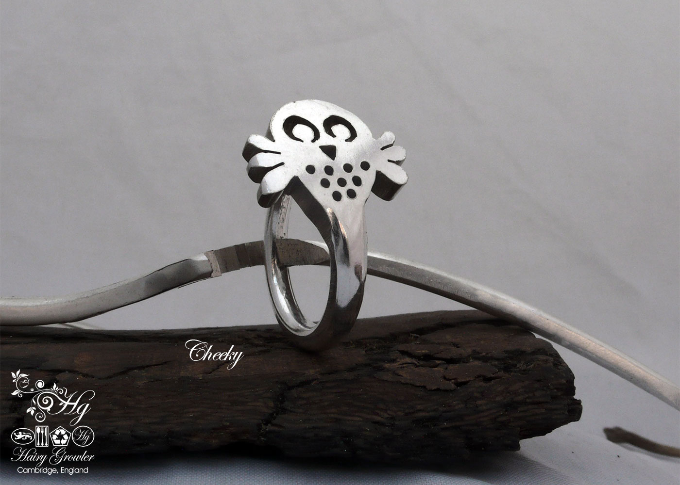 Unique, handmade, silver owl rings made from old recycled forks