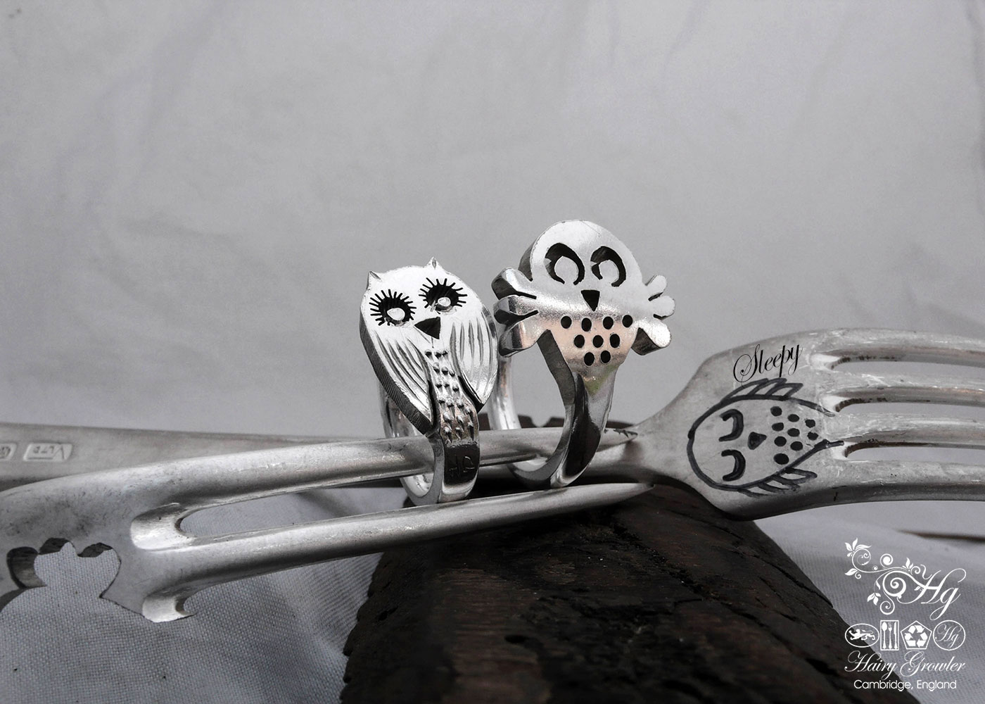 handcrafted and repurposed silver owl rings made from old forks