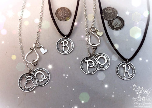 Handcrafted and recycled lucky silver threepence personal initial coin necklace pendant