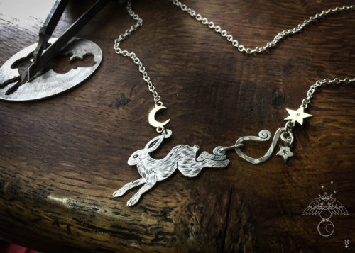 Handmade and recycled sterling silver moon leaping hare necklace