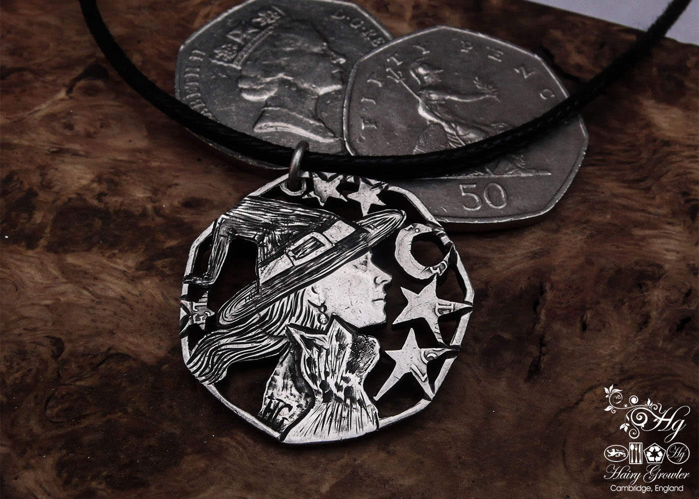 Handcrafted and recycled coin witch-queen pendant necklace