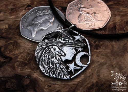 Handmade and recycled coin raven-queen pendant necklace