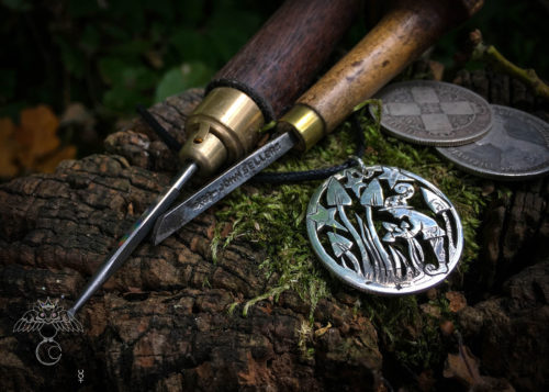 Coin jewellery hand cut from silver coins. This recycled silver coin is handcrafted and celebrates magic mushroom picking